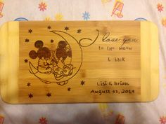 To the moon, minnie & mickey cutting board  by DesignsByDagenais on Etsy https://www.etsy.com/listing/200187217/to-the-moon-minnie-mickey-cutting-board