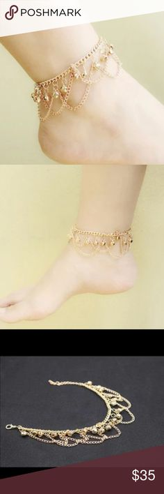 New 18 k gold anklet bracelet Brand new 18 k gold filled with lab created diamonds bracelet. Anklet bracelet Also have wedding ring sets, engagement rings , wedding bands in my listing for sale. Available in all sizes. Jewelry Bracelets