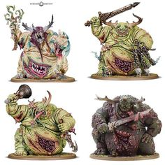 Loving the new Greater Daemon of Nurgle kit previewed by Warhammer Community today. You can see how closely one of them looks to the Forgeworld kit (bottom right). Photo credit: Warhammer Community/ Forgeworld #warhammer #ageofsigmar #gamesworkshop #forgeworld #nurgle #chaos