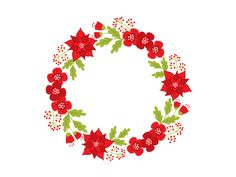 Christmas Wreath Clipart - Digital Vector Wreath, Holly, Poinsettia, Berries, Flowers, Xmas Wreath Clip Art for Personal and Commercial Use by TanitaArt on Etsy