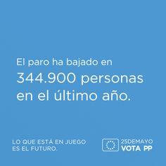 El paro ha bajado en 344.900 personas en el último año #VotaPP #VotaCañete