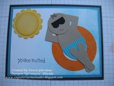 Invitación con Arte de Punches para una fiesta de piscina