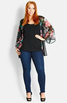 City Chic Floral Drapey Open Front Jacket (Plus Size) available at #Nordstrom