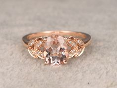 6x8mm VVS Oval Morganite Solitaire Engagement ring,14k Plain Rose gold,wedding…