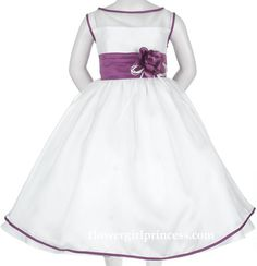 White Dress with Eggplant Trim