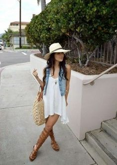 For a laid-back look, team a light blue denim vest with a white swing dress — these items work wonderfully together. A nice pair of brown leather knee high gladiator sandals ties this outfit together. Outfits For Teens, Casual Outfits, Cute Outfits, Jean Vest Outfits, Look Fashion, Fashion Outfits, Womens Fashion, Petite Fashion, Curvy Fashion