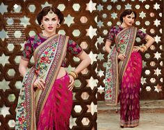 Graceful wine to pink ombre sari, with greenish cream pallu. Contemporary floral motifs adorn the blouse. The pallu is embellished with floral embroidery in a myriad of colours, complimented with a wine weaved skirt, making a unique & elegant combination.