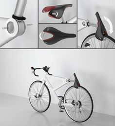 """""""Saddle Lock"""" concept by Lee Sang Hwa, Kim Jin Ho and Yeo Min Gu is that it's a design for not only the seatpost and saddle but the frame itself. The fact that the hinge is incorporated into the seatpost cluster means that the locking mechanism is part and parcel with the frame itself. the Red Dot Design Award-winning concept"""