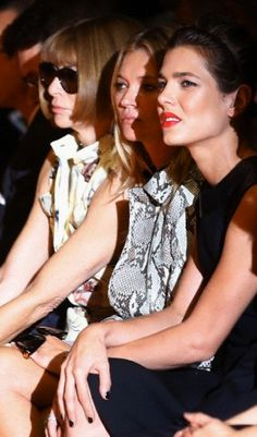 From left, editor-in-chief of American Vogue Anna Wintour, model Kate Moss, and Charlotte Casiraghi attend Gucci women's spring-summer 2015 show, part of the Milan Fashion Week, unveiled in Milan, Italy, 17.09.2014.