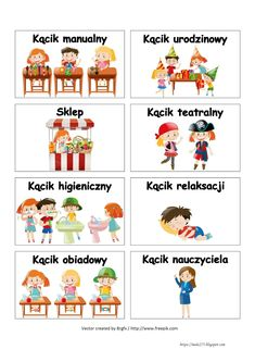 BLOG EDUKACYJNY DLA DZIECI: WIZYTÓWKI DO KĄCIKÓW - PRZEDSZKOLE Diy And Crafts, Crafts For Kids, Teacher Inspiration, Classroom Setting, Kids And Parenting, Mini Albums, Montessori, Art For Kids, Kindergarten