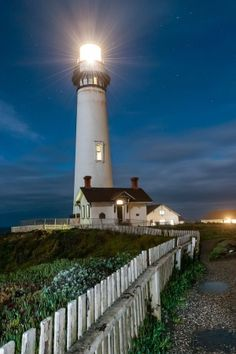 The last lighting. Pigeon Point lighthouse, California. by xyz732556