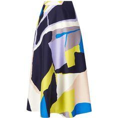 L.K. Bennett Amina Printed Midi Skirt (4.939.370 IDR) ❤ liked on Polyvore featuring skirts, pleated skirt, midi skirt, blue midi skirt, patterned skirt and blue print skirt
