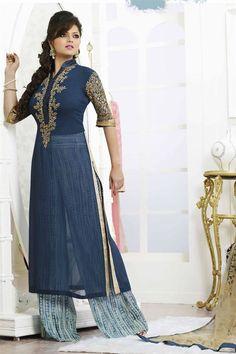 Drashti Dhami Blue Color Embroidered Salwar Suit
