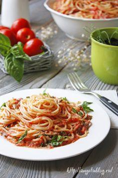 Рецепт пасты с помидорами. #food, #recipes, #pasta, #recipe, #spagetti, #sauce