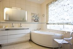 Privatus gyvenamasis  Nr. 2  2013 - interjeras.lt Roman Curtains, Corner Bathtub, Romans, Alcove, Bathroom, House, Ideas, Roman Blinds, Washroom