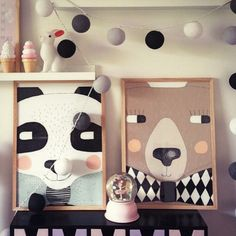 Lulu et Brindille, petite boutique ravissante sur Paris. Seventy Tree - Affiches. Panda and bear prints for kids room by Seventy Tree.