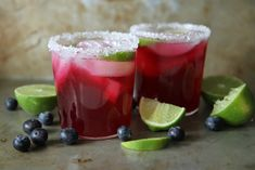 Mustika, laimi margariita.  ¼ cup Blueberry Simple Syrup - ¼ cup Fresh Lime juice - 4 ounces Grand Marnier - 4 ounces Tequila     -         Blueberry Simple Syrup: 1 cup sugar 1 cup water 1 cup blueberries