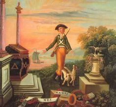 """""""Voilà mes plaisirs"""", peinture sur trumeau du XVIIIème siècle. © Musée de la Franc-Maçonnerie (coll. GODF, Paris)."""