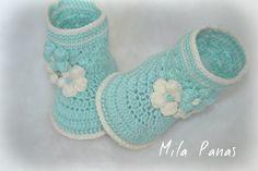 """Knitting booties Crochet """" Mint coolness """""""