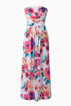 Floral to Ceiling Strapless Maxi Dress
