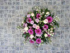 rouwboeket roze paars