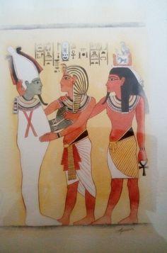 Toutankhamon et les dieux Osiris et Kha. Aquarelle, Christine Monsion