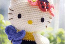 Patrón hello Kitty abeja amigurimi Tweety, Minnie, Free Pattern, Daisy, Kids, Fictional Characters, Patterns, Tricot, Key Hangers