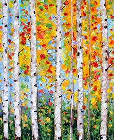Original oil painting Birch Trees Autumn landscape palette knife on canvas fine art impressionism by Karen Tarlton Birch Tree Art, Watercolor Trees, Autumn Art, Leaf Art, Abstract Flowers, Painting Inspiration, Art Lessons, Art Projects, Canvas Art