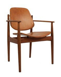 Arne Vodder; Teak and Leather Armchair, c1950.