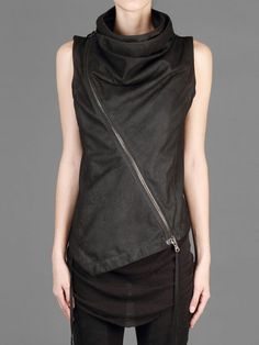 ISABEL BENENATO LEATHER WAISTCOAT WITH ASYMMTERIC ZIP