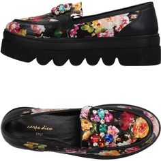 Carpe Diem Loafer ($105) ❤ liked on Polyvore featuring shoes, loafers, black, loafer shoes, black creeper shoes, rubber sole shoes, wedge heel shoes and black floral shoes