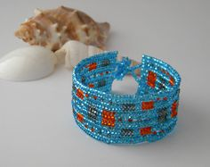 By The Sea Bracelet, Colorful Beading Herringbone Stitch Handmade Jewelry, Unique Gift For Teenager, College Student, Best Friend Birthday
