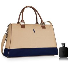 Ralph Lauren Polo Double Black Eau de Toilette and Weekend Duffle... ($80) ❤ liked on Polyvore featuring beauty products, gift sets & kits, no color and ralph lauren