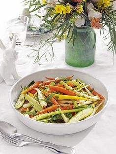 Baby spring vegetables in olive oil and lemon stock: you can use any vegetables you want for this dish but baby varieties look beautiful. Homes & Gardens. Recipe by Katie Giovanni. http://www.hglivingbeautifully.com/2016/03/21/easter-dining-3-recipes-for-a-relaxed-lunch/