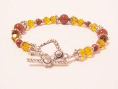Goldstone & Golden Crystal Bracelet by RomanticThoughts on Etsy, $19.95