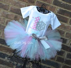 Winter ONEderland Pink and Aqua Polkadot Snowflake Winter Themed Birthday Tutu Outfit