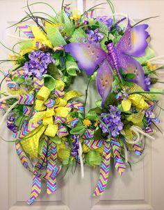 Spring / Summer Mesh Wreath van WilliamsFloral op Etsy,