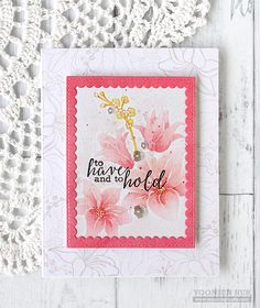 handmade wedding card by Yoonsun Hur ... watercolor paper... flowers stamped in pale gray in background and on focal panel .. no-line water coloring ...  awesome work of art! ... Clearly Besotted stamps ...