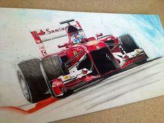 Fernando Alonso Ferrari F1 colored pencil art