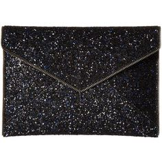 Rebecca Minkoff Glitter Leo Clutch (Moon) ($95) ❤ liked on Polyvore featuring bags, handbags, clutches, flap handbags, flap purse, glitter handbag, rebecca minkoff purse and rebecca minkoff