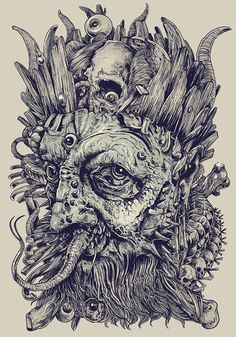 KING by Rafal Wechterowicz, via Behance #illustration #drawing #skulls