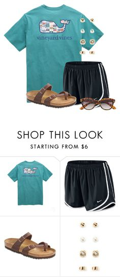 """""""Watching the Olympics"""" by flroasburn ❤ liked on Polyvore featuring Vineyard Vines, NIKE, Birkenstock, Forever 21 and H&M"""