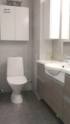 Pieni wc, harmaan ja ruskein sävyin. Ruskea harmaa valkoinen wc moderni seinäkaapit iso peili