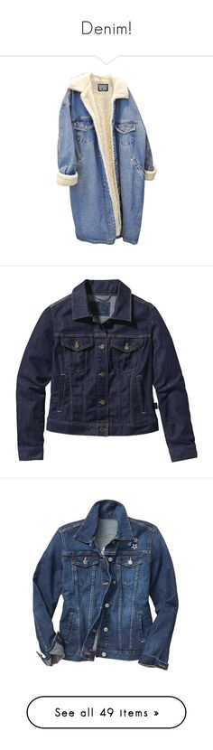 """""""Denim!"""" by sarguo ❤ liked on Polyvore featuring outerwear, jackets, coats, tops, denim jackets, fleece jean jacket, blue denim jacket, jean jacket, blue fleece jacket and fleece denim jacket"""
