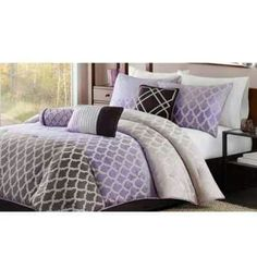 Purple comforter sets in various styles, prints and sizes. There is a purple comforter set for everyone. King Size Comforters, King Comforter Sets, Bedding Sets, Queen Bedding, Purple Comforter, White Bedding, Geometric Bedding, Purple Bedrooms, Teen Bedrooms