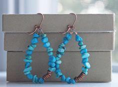 Bohemian Earrings Beaded Hoop Earrings Turquoise by prairiefunk, $38.00