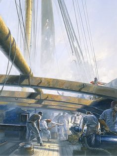 Geoff Hunt 'The Fortune of War' limited edition print. This print is cover art from Patrick O'Brian's Aubrey-Maturin series book. Nautical Prints, Nautical Art, Old Sailing Ships, Pirate Art, Ship Of The Line, Ship Paintings, Military Diorama, Boat Plans, Ship Art