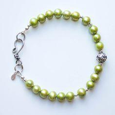 Items similar to Green pearl bracelet, antique silver hook clasp, June Birthstone, green boho bracelet, freshwater pearl bracelet on Etsy