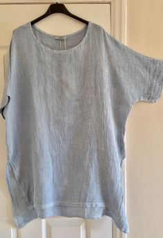 6ba5d96320 New Italian Lagenlook Oversized Side Split Cotton Linen Mix Asymmetric  Tunic Top