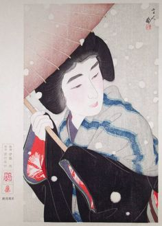 "TORII Kotondo (1900-76)  Title	""Peony Snowflakes"" (""Botan Yuki"")  Date	1931 (Later limited edition of 100 prints, c1980's)"